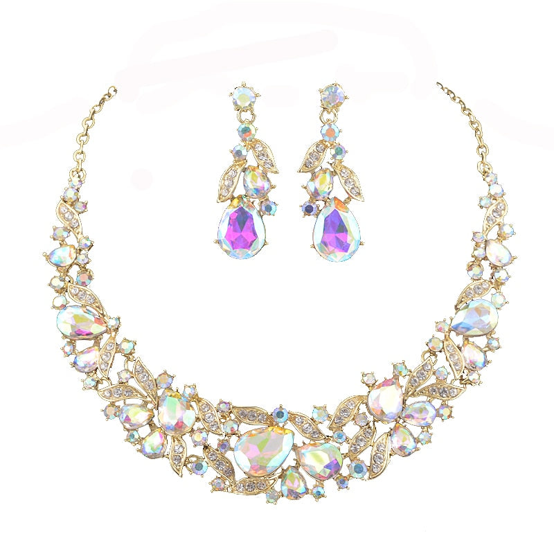 Shine AB Color Crystal Jewelry Sets Women Party Statement Custom Collar Accessory Wedding Necklace&Earrings for bridal wedding