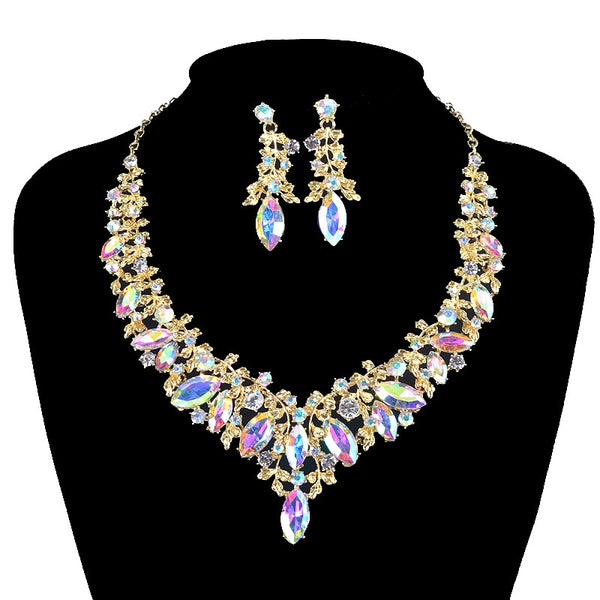 Fashion Crystal Indian Necklace Earring  Jewelry Sets for Women Brides Bridal Wedding Party Costume Jewellery accessories