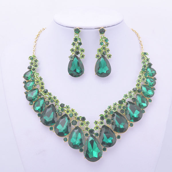Fashion rhinestone green jewelry sets flower design big crystal women party Wedding dress necklace and earrings jewelry