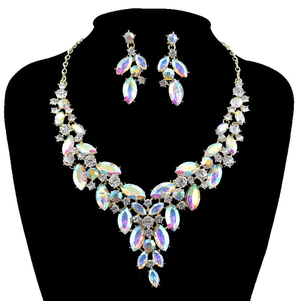 Beautiful American Jewellery Bridal Jewelry Sets Rhinestone Party Wedding Prom Costume Accessories Necklace Earring Set Women