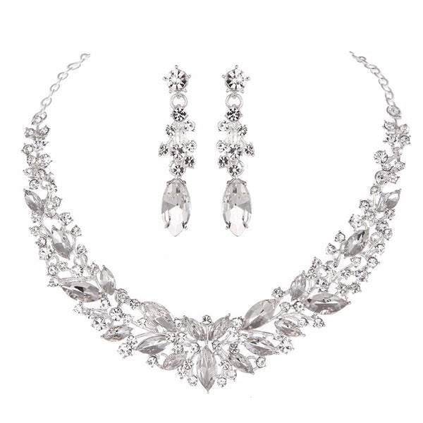 Crystal Wedding Bridal Jewelry Sets Silver Color rose gold color birdesmaid Rhinestone Wedding Jewelry Necklace Sets for Women