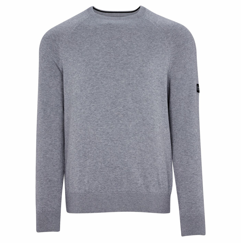 Barbour strik intl. crew neck grå