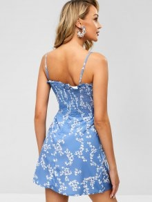 Blue Spaghetti Strap Slim Elastic Bust Floral Print Mini Dress