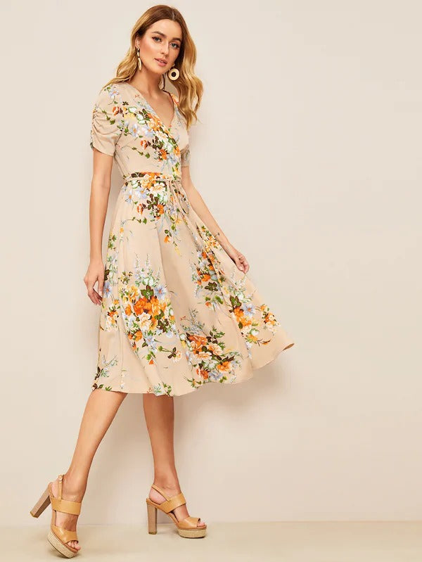 60s Floral Ruched Sleeve Surplice Neck Belted Dress