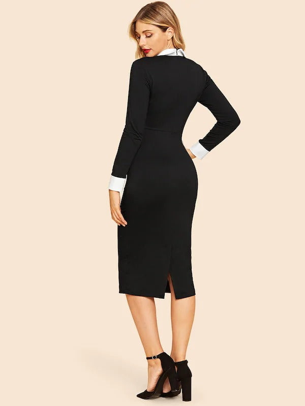 70s Contrast Collar & Cuff Pencil Dress