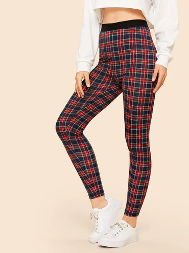 70s Solid Waist Plaid Leggings