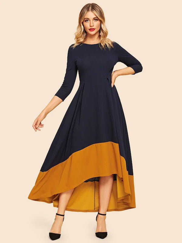 80s Color-Block Dip Hem Flare Dress