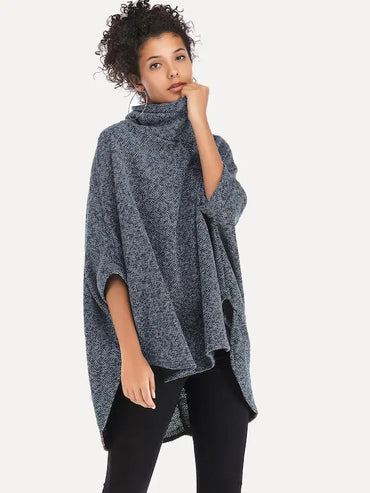 Asymmetrical Batwing Sleeve High-Neck Jumper
