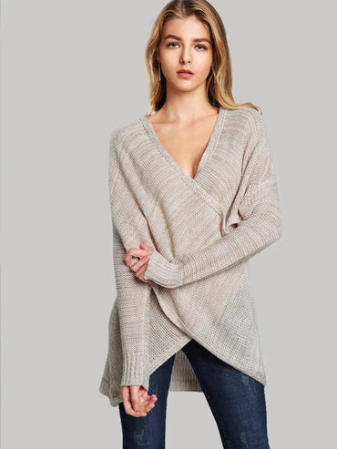 Asymmetrical Hem Crossover Sweater