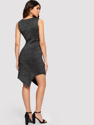 Asymmetrical Hem Sleeveless Sweater Dress