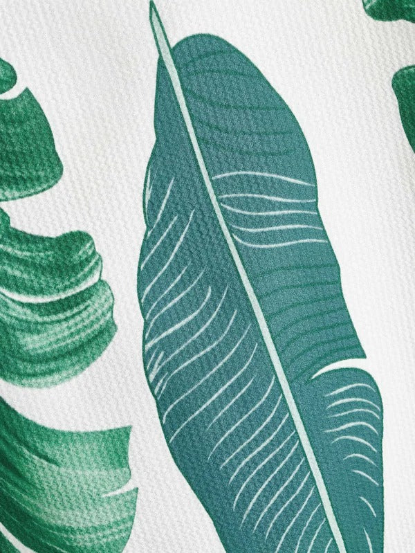 Banana Leaf Print Cold Shoulder Top