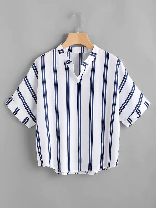 Band Collar Stripe Print Blouse