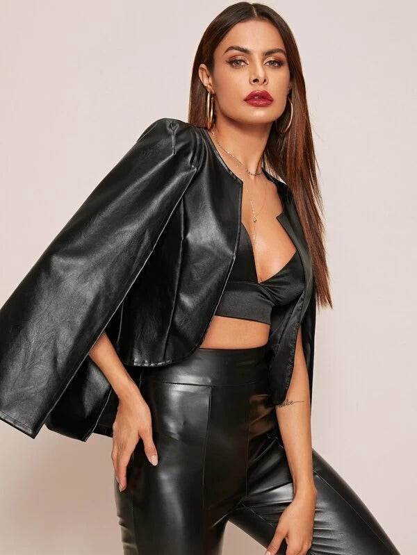 Black Faux Leather Cape Jacket