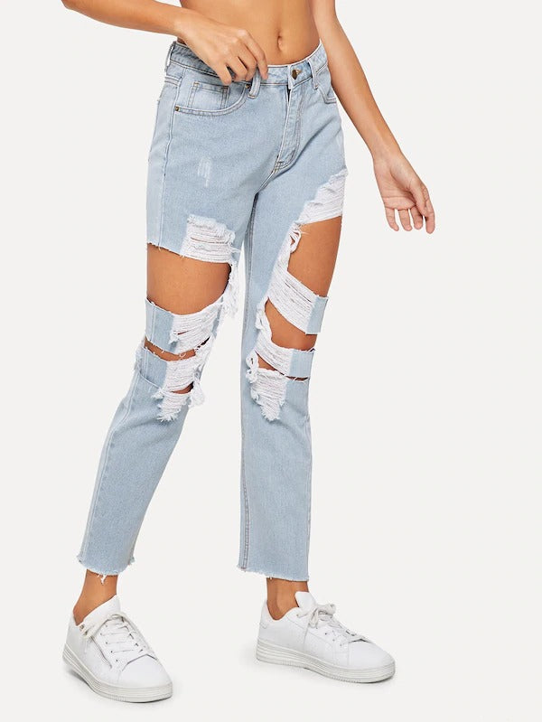 Bleach-Dye Destroyed Raw Hem Jeans