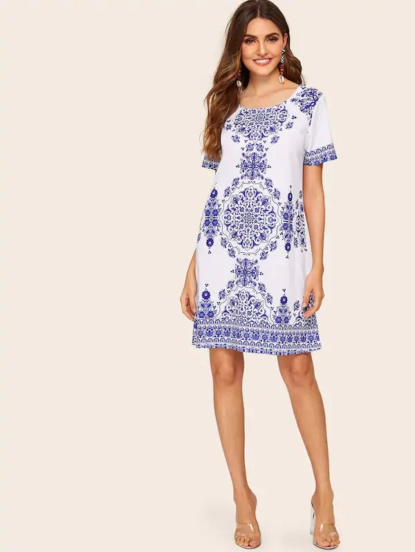 Blue And White Porcelain Print Dress