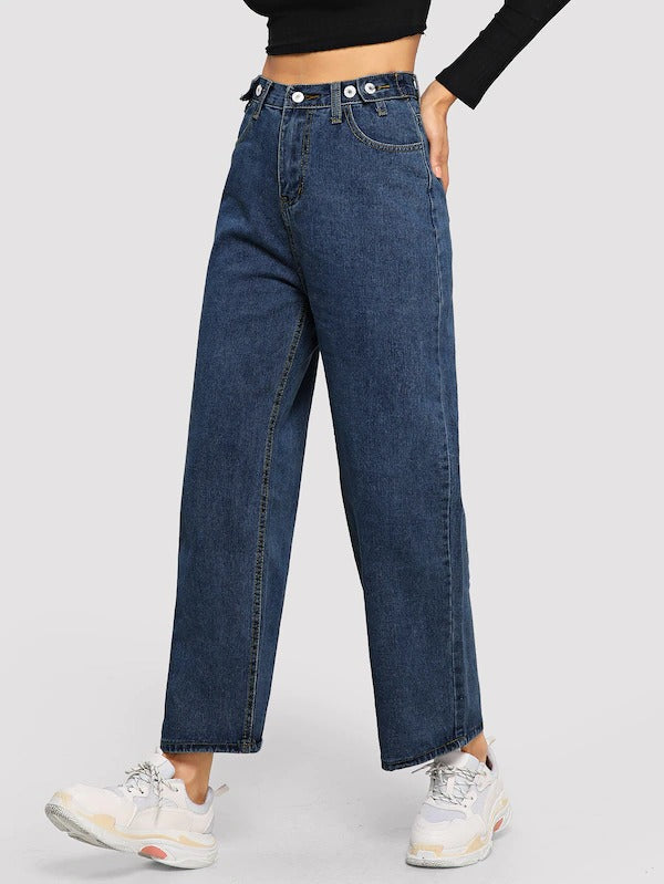 Button Wide-Leg Jeans
