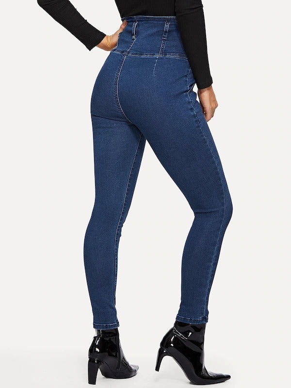 Button Front Solid Jeggings