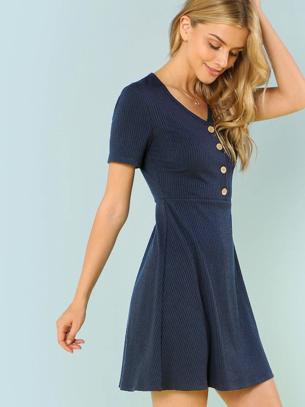Button Up Rib Knit Dress