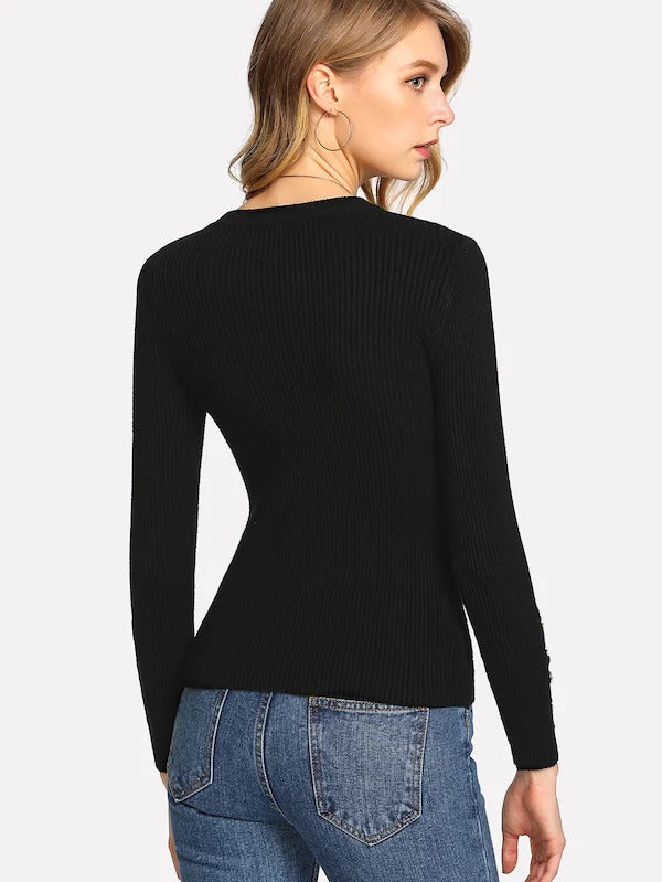 Button Sleeve Ribbed Sweater