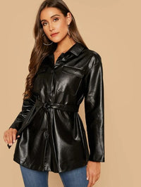 Button Front Flap Pocket Belted PU Leather Coat