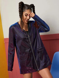 Button Front Hooded Double Pocket Metallic Coat
