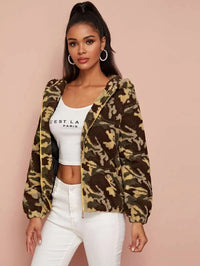 Camo Print Zip Up Hooded Teddy Jacket