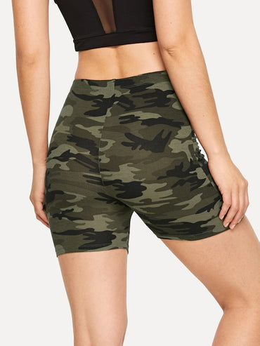 Camouflage Print Cycling Shorts