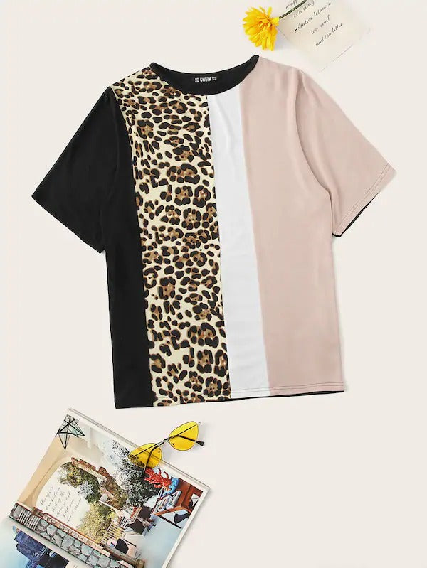 Color Block Leopard Print Tee