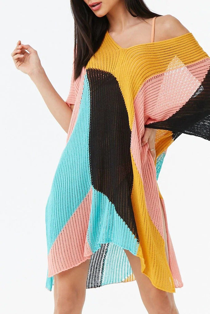 Colorblock Swim Cover-Up Sweater Dress