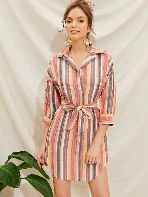 Colorful Striped Belted Notched Shirt Dress