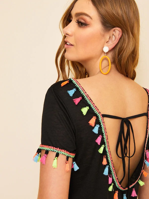 Colorful Tassel Trim Knot Back Top