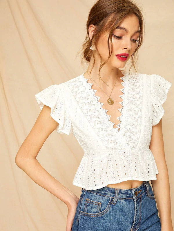 Contrast Lace Eyelet Embroidered Peplum Blouse