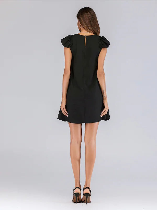 Contrast Ruffle Cuff Keyhole Back Dress