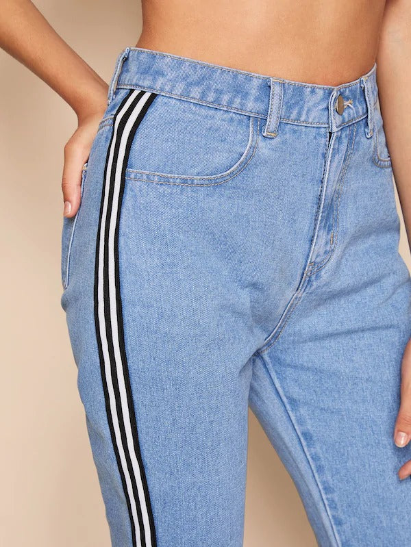 Contrast Striped Tape Side Bleach Wash Jeans
