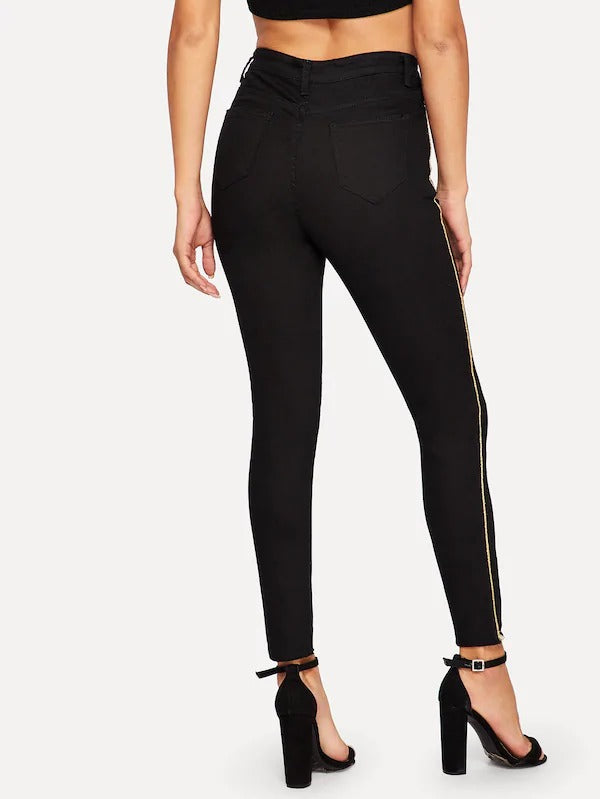 Contrast Tape Raw Hem Jeggings