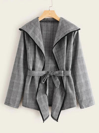 Contrast Binding Plaid Self Tie Coat