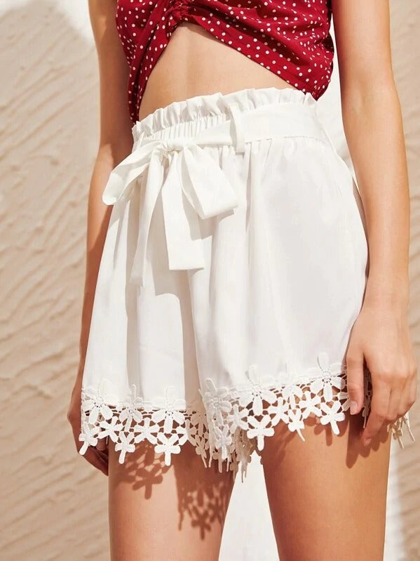 Contrast Lace Hem Self Tie Shorts