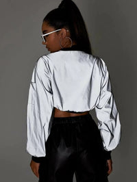 Contrast Trim Super Crop Reflective Bomber Jacket