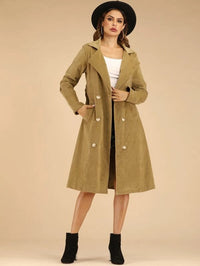 Corduroy Double Breasted Belted Trench Coat
