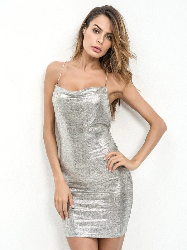 Crisscross Back Cowl Neck Metallic Cami Mini Dress