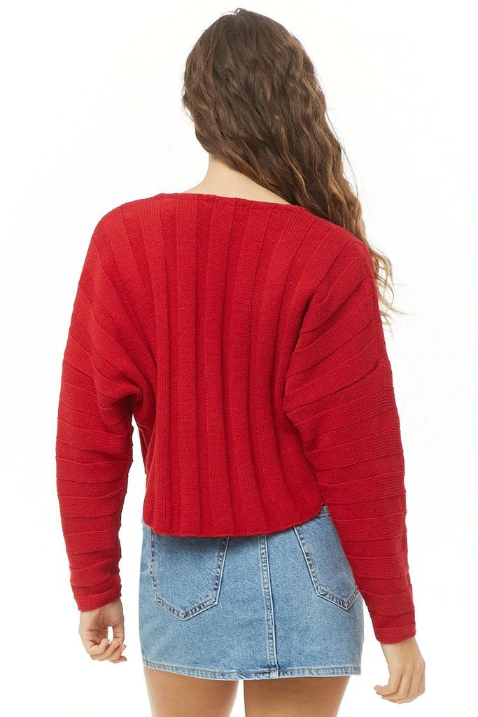 Cropped Ribbed High-Low Sweater