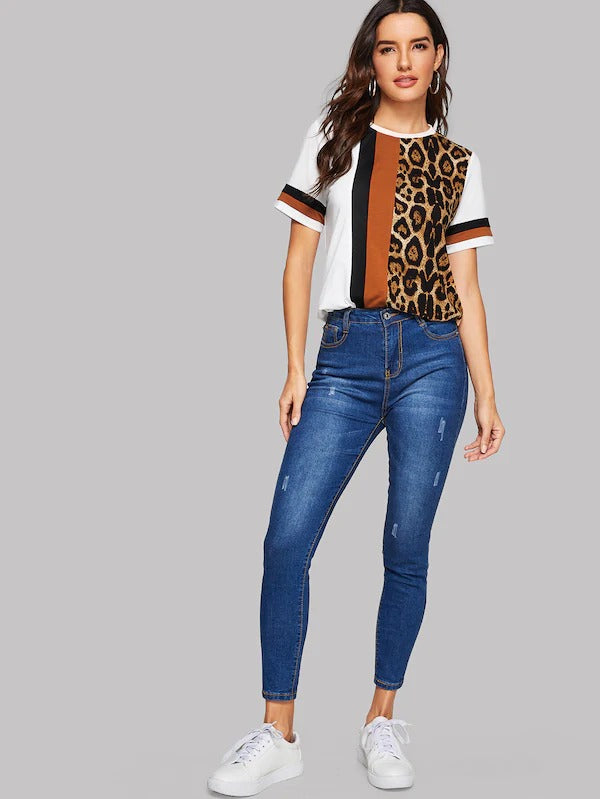 Cut-And-Sew Leopard Panel Top
