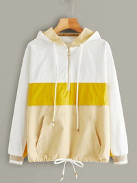 Cut And Sew Half Zip Drawstring Anorak Jacket