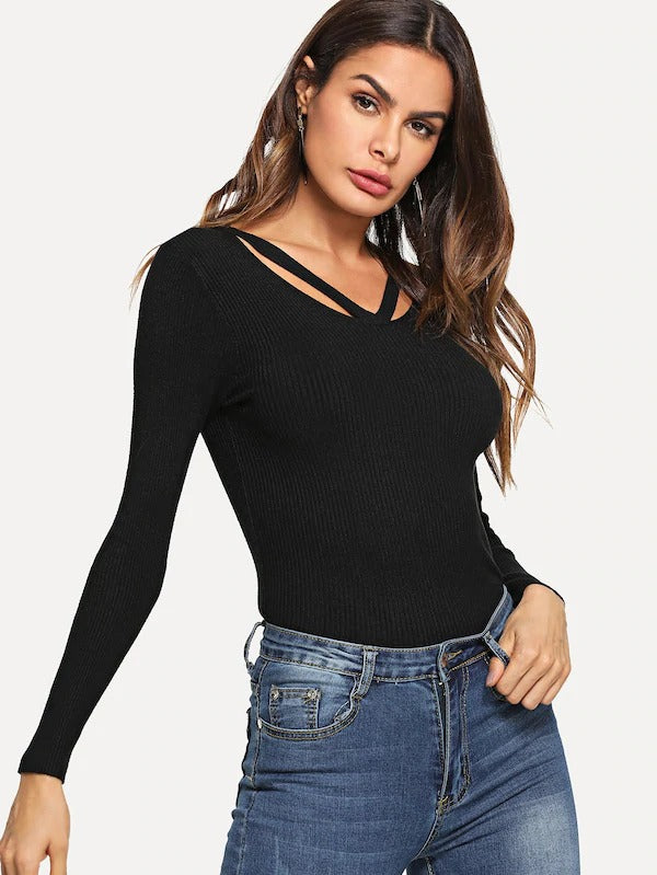 Cut Out Neck Knit Sweater