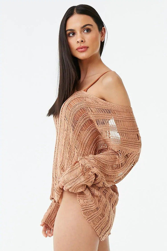 Distressed Ribbed Cutout Sweater