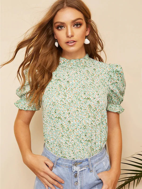 Ditsy Floral Frill Neck Puff Sleeve Top