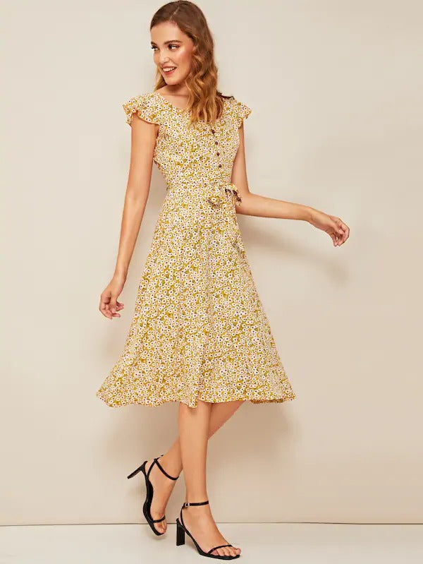 Ditsy Floral Print Ruffle Cuff Self Belted Dress