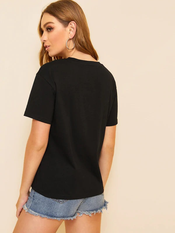 Dot Mesh Neck Short Sleeve T-Shirt