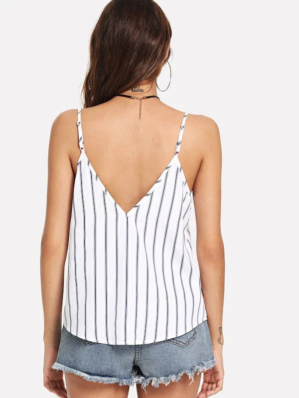 Double V-Neck Striped Cami Top