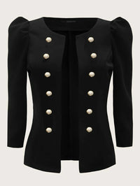 Double Breasted Detail Puff Sleeve Jacket